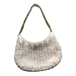 Wallace Winter White Hand Beaded Shoulder Bag